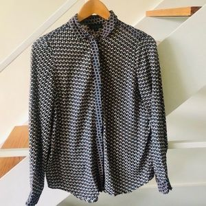 Topshop Geometric Print Button Down Shirt